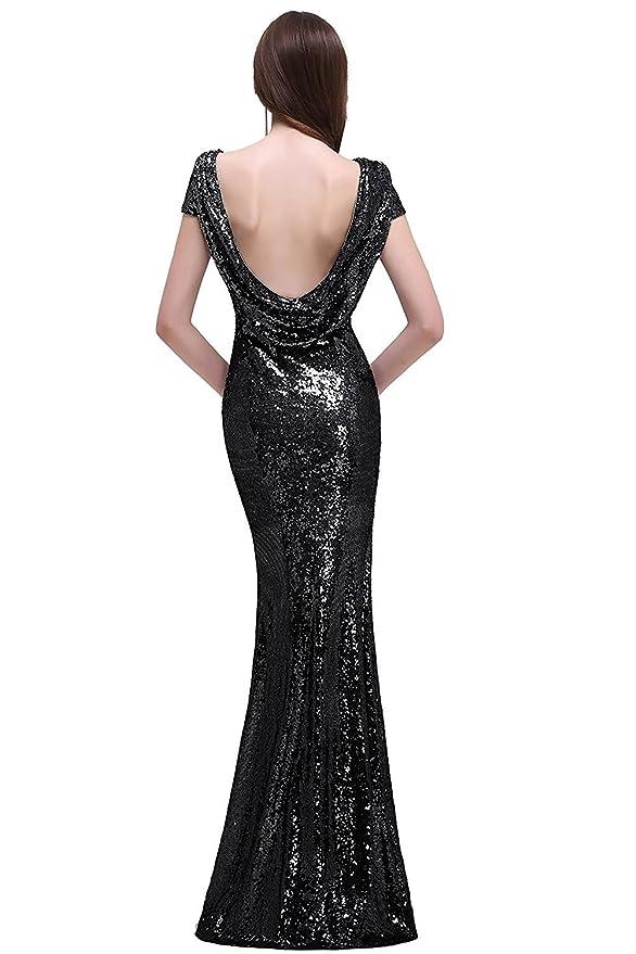 MisShow Women Rose Gold Long Sequins Bridesmaid Dress Prom/Evening ...