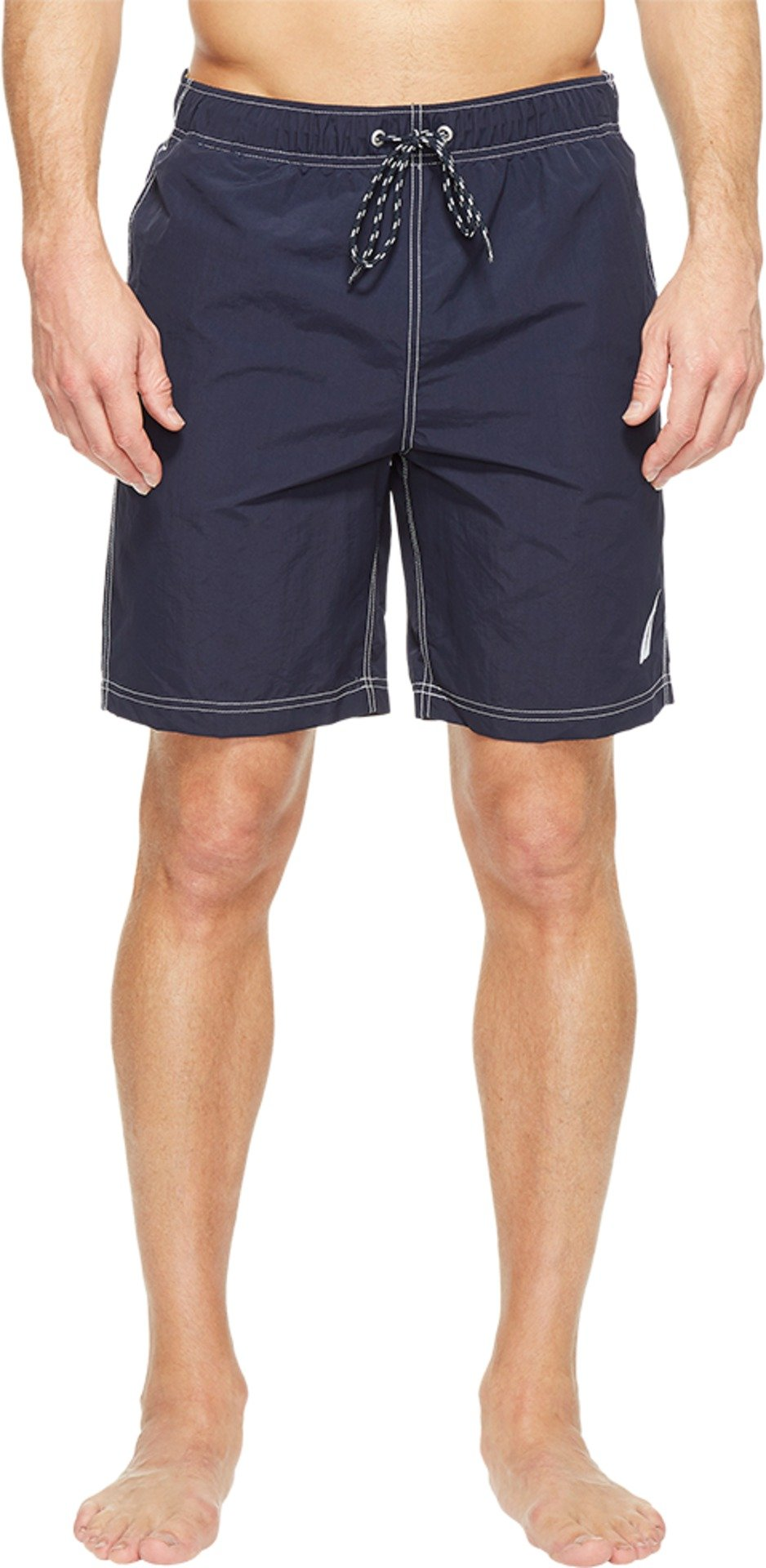 Nautica Men's Standard Solid Quick Dry Classic Logo Swim Trunk, Navy, Medium by Nautica