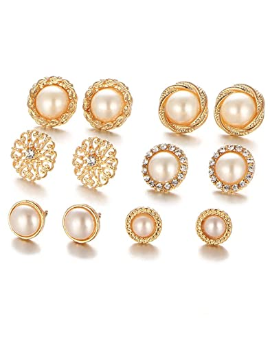 07ac2c374 Buy Karatcart Combo of Six Gold Plated White Pearl Stud Earrings For ...