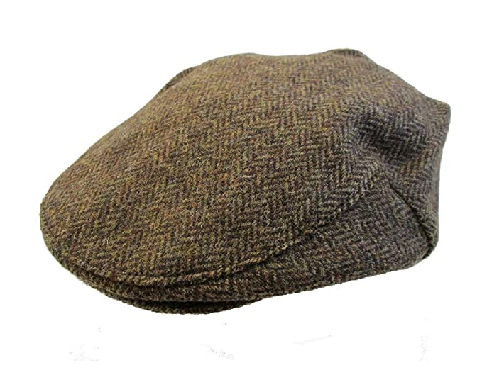 5 SIZES BROWN HERRINGBONE TWEED WOOL FLAT CAP