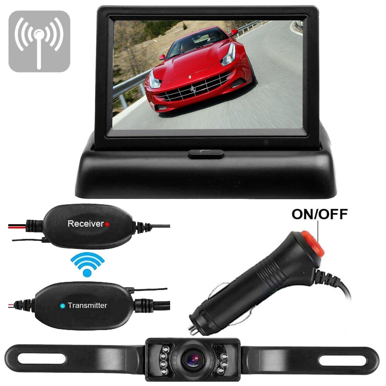 4.3 desktop monitor Wireless Backup Camera and Monitor Kit Waterproof License Plate Rear View Camera 9V-24V Parking System 4.3 Display 7 LED IR Night Vision For Car//Vehicle//SUV//Van//Campe