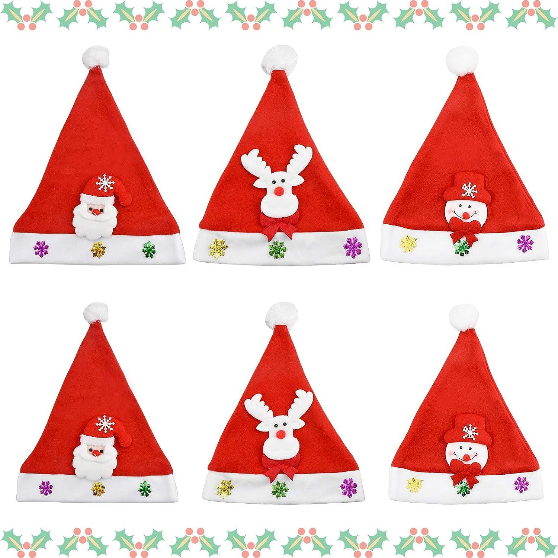 Schneemann Pl/üsch Weihnachtsm/ütze f/ür Weihnachtsfeier 6 St/ück Weihnachtsm/ütze Kurze Pl/üsch Santa Claus Dekorationen Weihnachtsm/ützen f/ür Kinder Erwachsene Inntek Weihnachtsm/ützen Santa H/üte