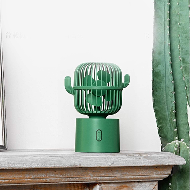 Color : Green Outdoor Travel USB Fans Cactus 80 Degree Shaking Head Fan Mini Cute Cartoon USB Mute Desktop Office Portable Charging Detachable Fan for Home Office