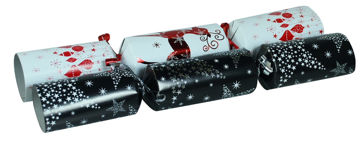 Christmas Crackers Contents.Set Of 12 Large 14 Inch Long Luxury Christmas Crackers Novelty Contents Hat