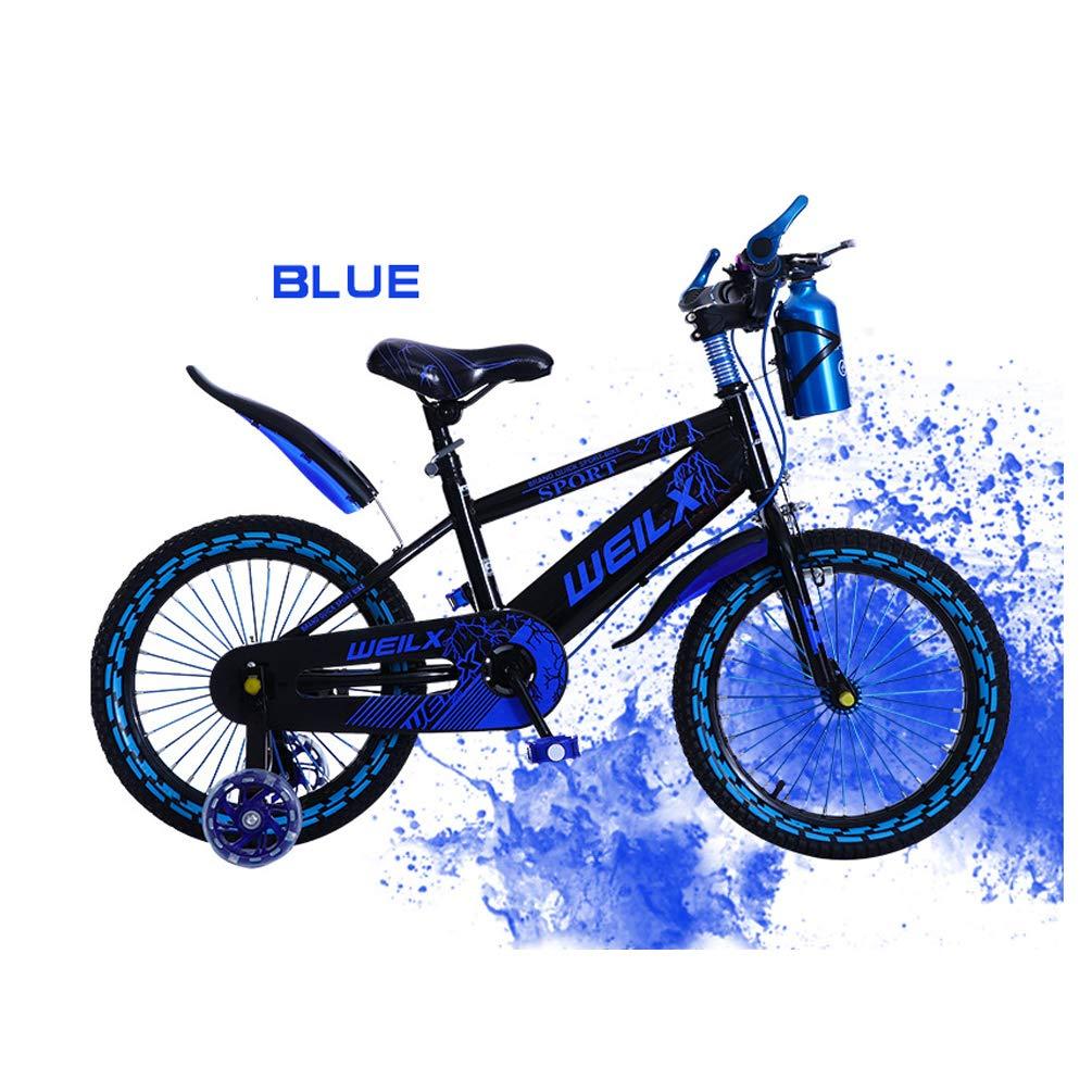 azul XGYUII Bicicleta Infantil para niños, niña, 14 Pulgadas, 16 Pulgadas, 18 Pulgadas, Bicicleta Infantil, Elevador, Cochecito de bebé, Princesa, Botella de Agua