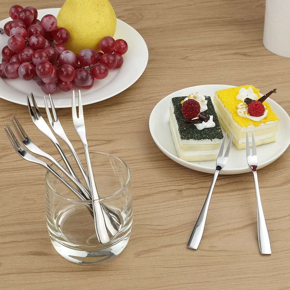 HOMMP Fruit Fork Bistro Cocktail Forks 16-Piece Stainless Steel Two Prong Forks