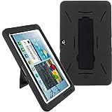Galaxy Tab 2 10.1 Case KIQ (TM) Heavy Duty Hybrid Silicone Skin Hard Plastic Case Cover w/ Kick Stand for Samsung Galaxy Tab 2 10.1 P5100 (Black / Black)