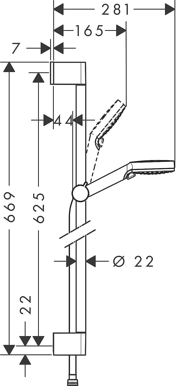 hansgrohe Crometta wassersparendes Brauseset 0,65m 2 Strahlarten wei/ß//chrom