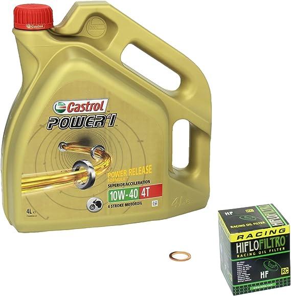 Castrol Power1 10w 40 Ölwechsel Set Bandit 1200 Gsf 1200 Bj 96 06 Motoröl Hiflo Racing Ölfilter Und Dichtring Auto
