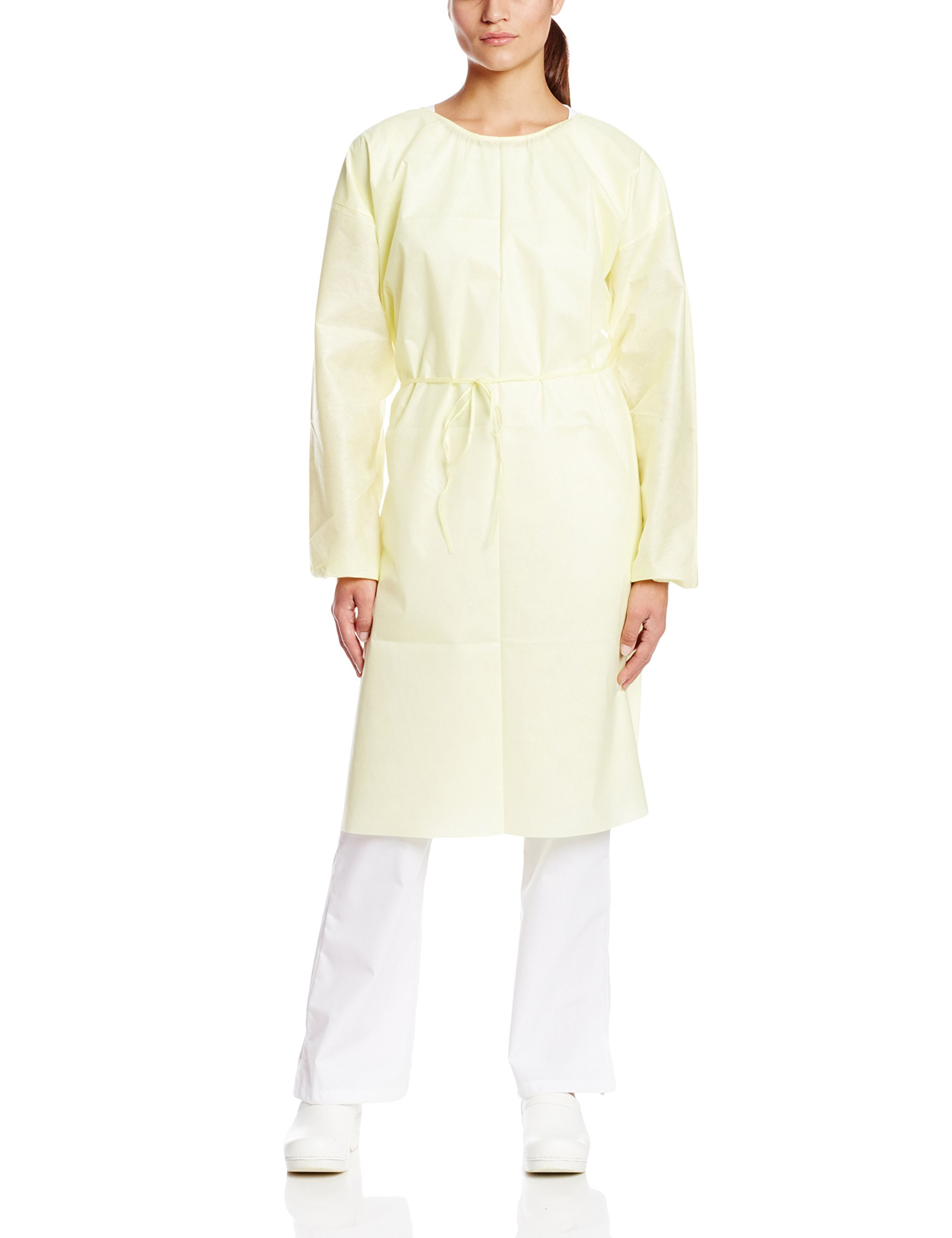ValuMax 3380E-Y Disposable SMS Cover Gown, Fluid Resistant, Tie Back, Elastic Cuffs, Yellow, Pack of 10 Regular Size Fitting Most. by Valumax (Image #1)