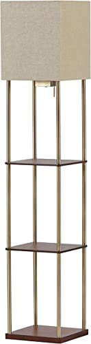 Amazon Brand Rivet Olive 4 Wood Shelf Standing Floor Lamp