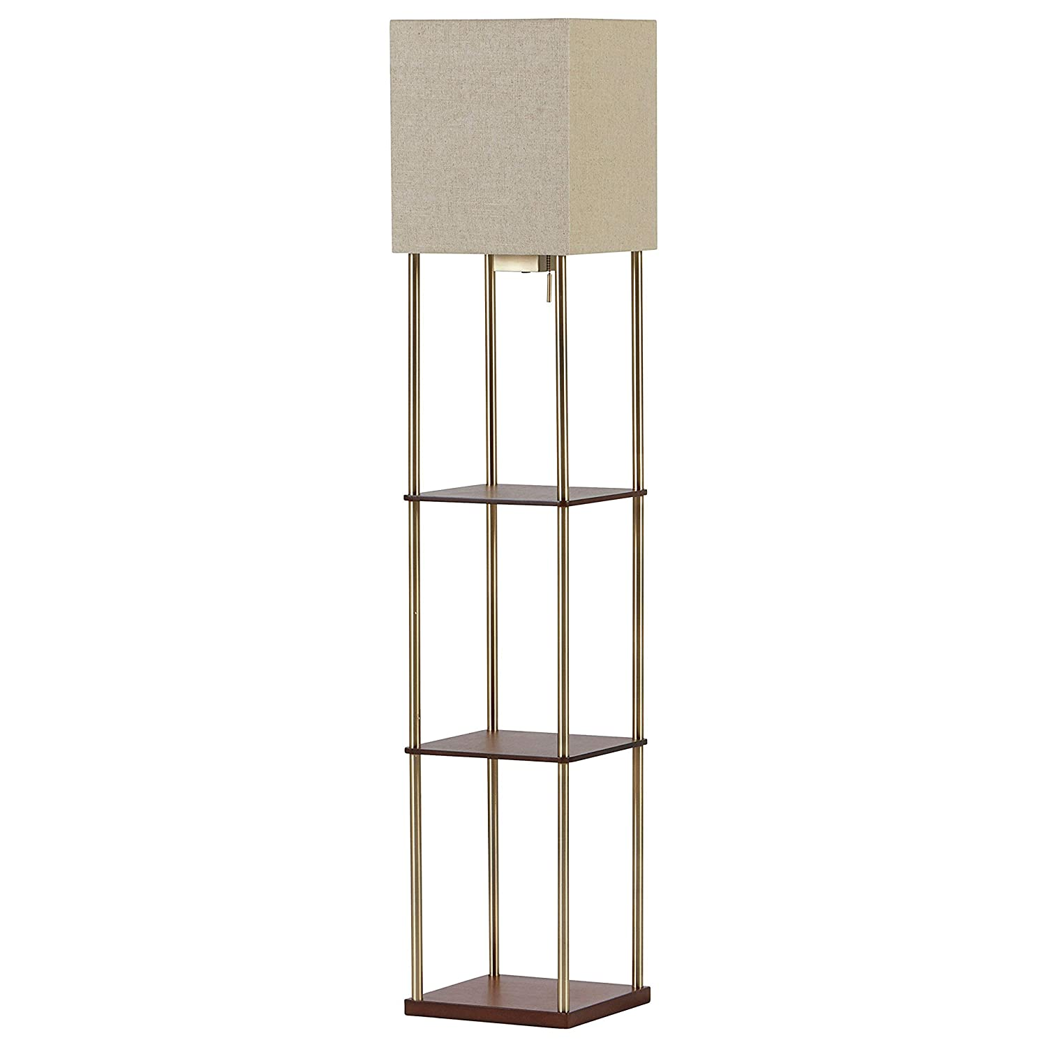 Rivet Olive 4 Wood Shelf Standing Floor Lamp With Light Bulb and USB Charging Station – 11.8 x 11.8 x 62 Inches, Brass