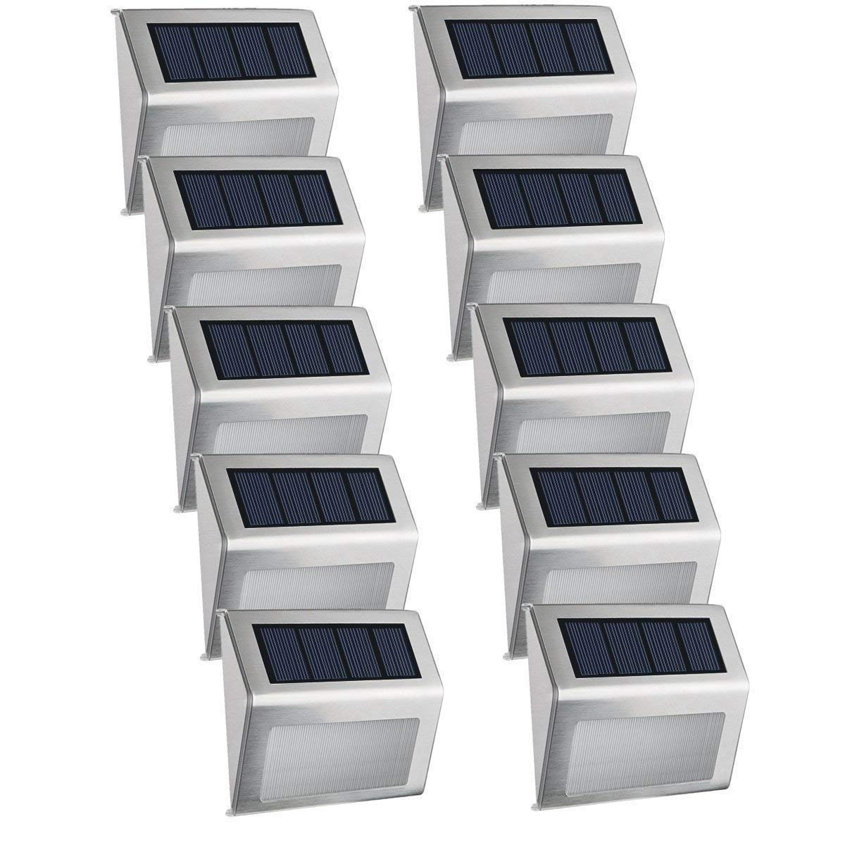 Solar Powered Deck Lights, EASTERNSTAR 4 LED Outdoor Stainless Steel Waterproof Step Lights Wireless White Lighting for Fence,Path, Patio, Stair-10 Pack by EASTERNSTAR