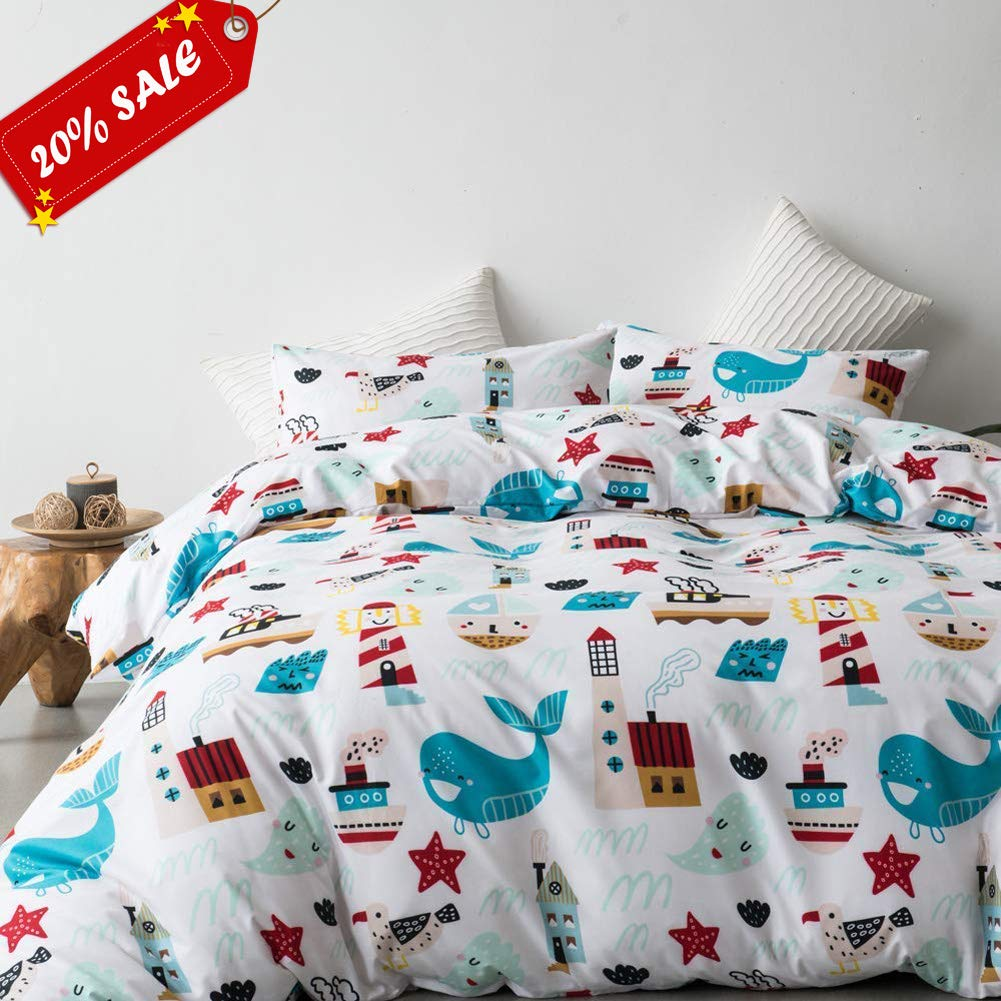 Leadtimes Fish Kids Duvet Cover Set Queen Size Duvet Cover Lightweight Girls Bedding with Whale Design (Whale, Queen) by Leadtimes
