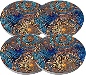 Beverage Coaster - Custom Fashion Personalized Exquisite Ceramic Coasters with Cork Liner,4 Pieces Sets (Blue Flower)