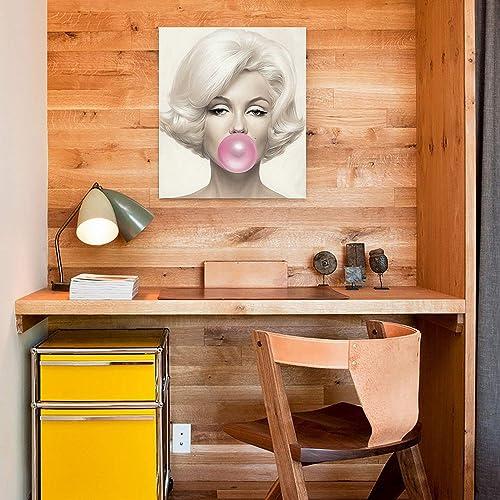 Laoife Beauty Portrait Marilyn Monroe and Bubble Gum Canvas Wall Art