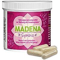 MADENA Symbio | 100 Kapseln | konzentrierte Lactobacillus-Bifidus-Kulturen | Inulin Synergy 1 | Vitamin C | Ohne Gluten, Laktose, Farb- und Konservierungsstoffe | 100% Gelatine-frei | Premiumqualität