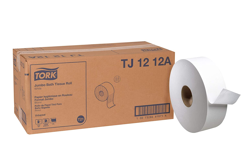 Tork universal tj1212 a Jumbo papel higiénico rollo, 1 capa, 11,75