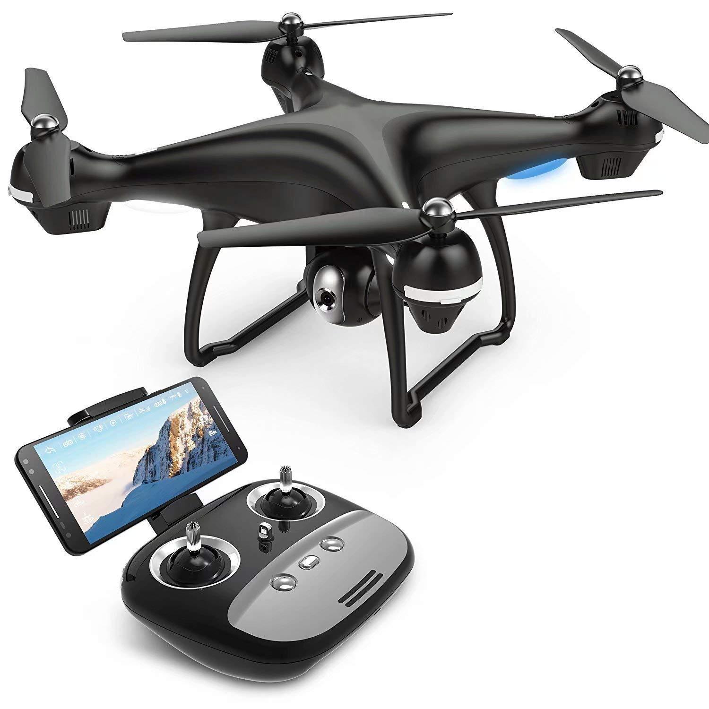 WRJ-Drones Drone RC con cámara Vídeo en Vivo y GPS Regreso a casa Quadcopter con cámara WiFi de Gran Angular Ajustable 720P HD - Sígueme, retención de altitud, batería Inteligente (2 baterías)
