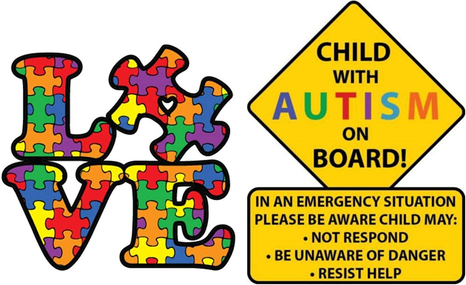 eDesign 2-Pack Child with Autism Alert Responders and Autism Awareness Love Puzzle Piece Car Truck Decal Sticker Premium Quality Vinyl Sticker Size 5-Inches