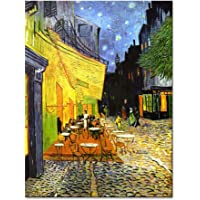 Wieco Art - Cafe Terrace at Night Modern Stretched and Framed Giclee Canvas Prints Van Gogh Oil Paintings Reproduction Cityscape Picture on Canvas Wall Art Ready to Hang for Bedroom Kitchen Home Decorations
