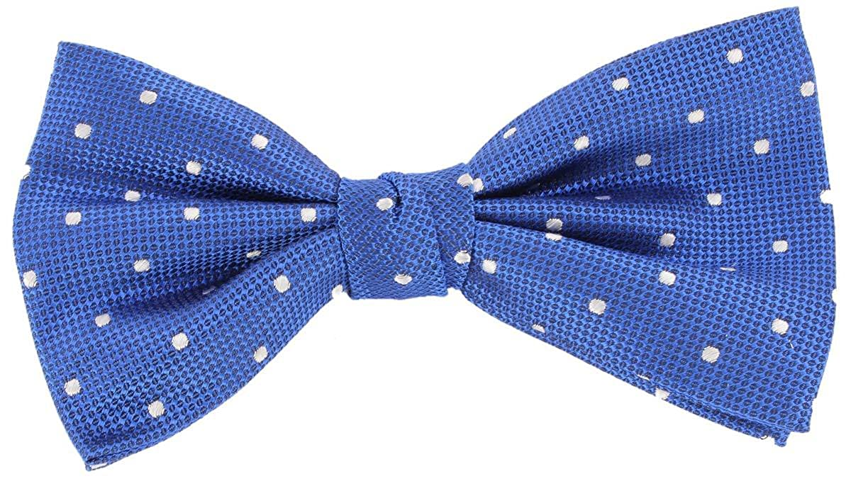 Knightsbridge Neckwear Mens Spotted Silk Bow Tie Blue//White