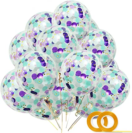 Unique 6 Pack of 12 inch Teal Confetti Clear Balloons Party Latex