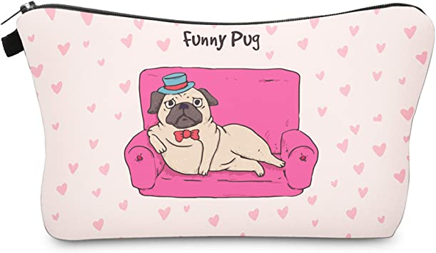 Cute Travel Makeup Bag Cosmetic Bag Small Pouch Gift for Women (Funny Pug)