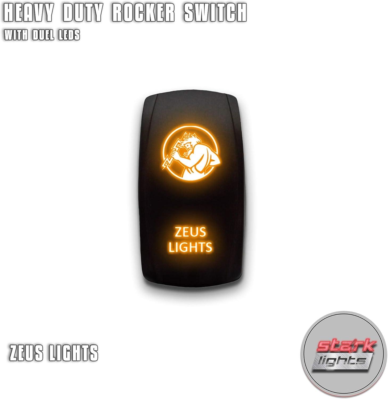 12//24V Car Boat Marine Laser Rocker Toggle Switch ON-OFF Dual Orange LED Light !
