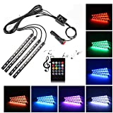 Car LED Strip Light,Uniwit 4 Pieces DC 12V 72 LED Multicolor Car Interior Music Light LED Underdash Lighting Kit with Sound Active Function and Wireless Remote Control Including Car Charger (Color: Remote Control - 72 LED)