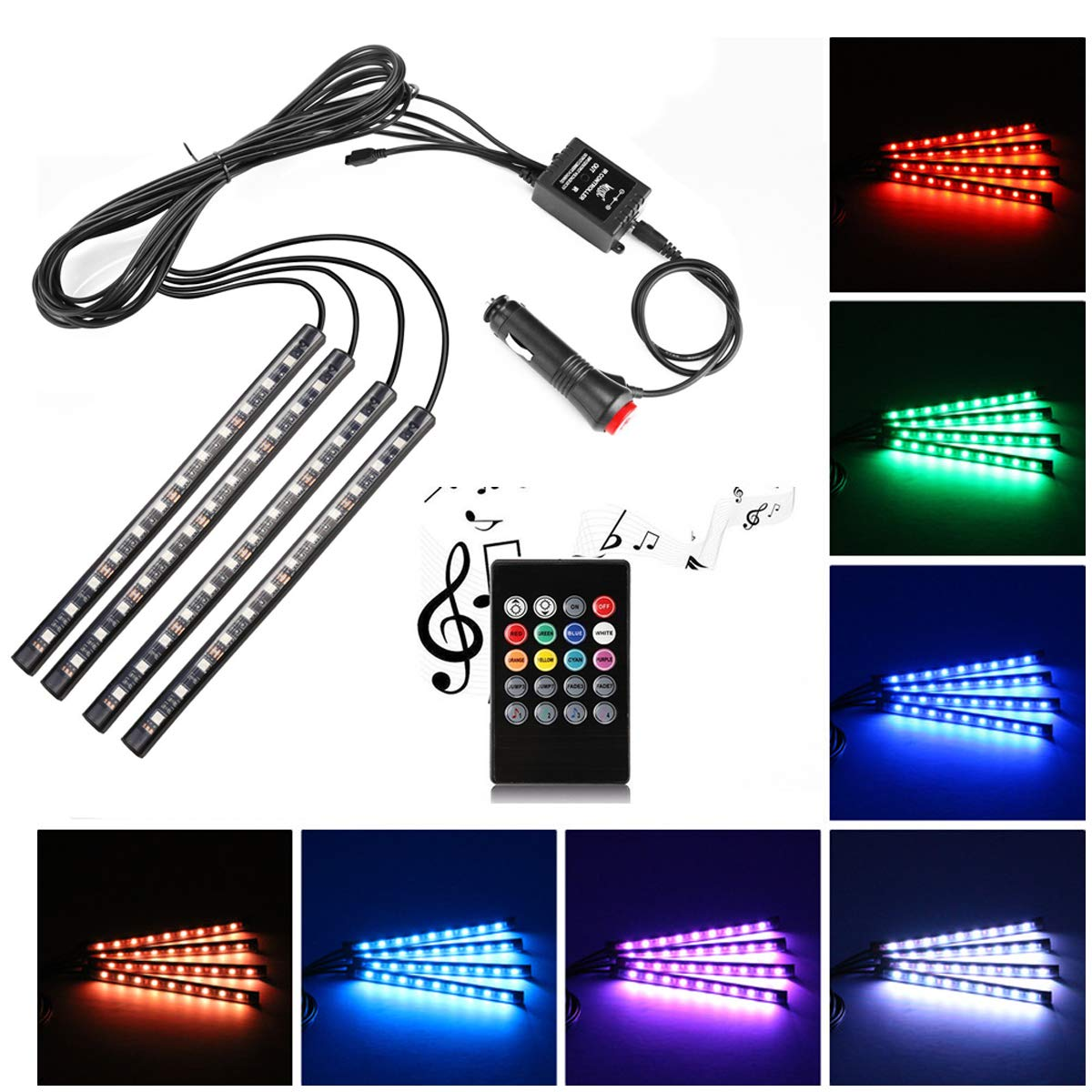 Car LED Strip Light, Uniwit 4 Pieces DC 12V 72 LED Multicolor Car Interior Music Light LED Underdash Lighting Kit with Sound Active Function and Wireless Remote Control Including Car Charger