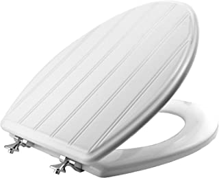 product image for MAYFAIR 129CPA 000 Beadboard Toilet Seat with Chrome Hinges will Never Loosen, ELONGATED, Durable Enameled Wood, White