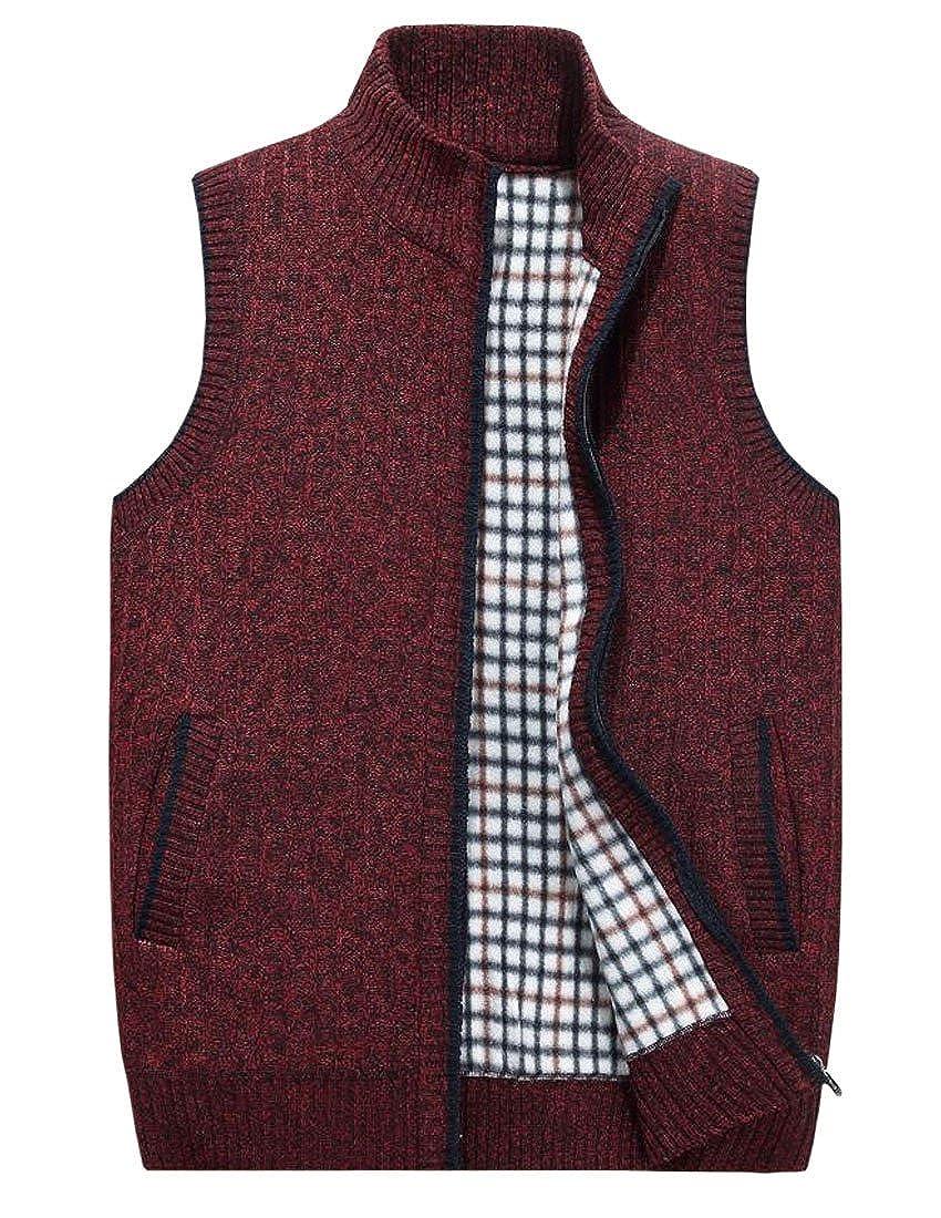 Jenkoon Mens Thicken Knit Vest Cardigan Outwear Zipper Up Sweaters