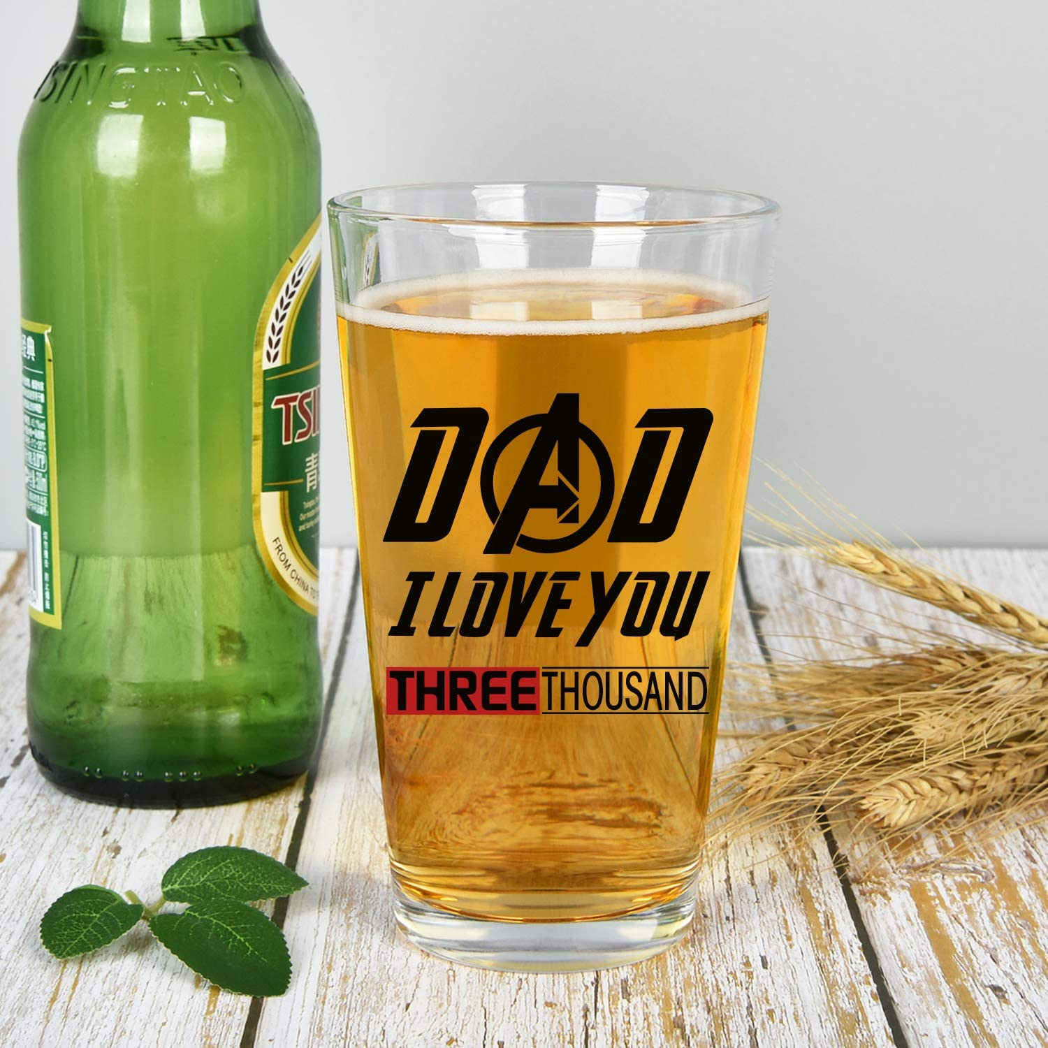 Funny Beer Pint Glass for Men Father Dad New Dad Husband Modwnfy Father Beer Glass Funny Beer Pint Glass for Birthday Father/'s Day Dad I Love You Three Thousand Beer Glass