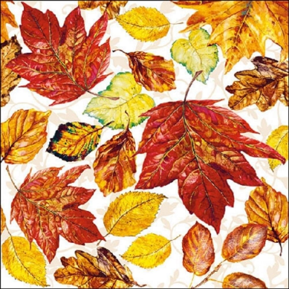 Fallen Leaves 4 Paper Napkins for Decoupage 3-ply 4 Individual Napkins for Craft and Napkin Art. 33 x 33cm