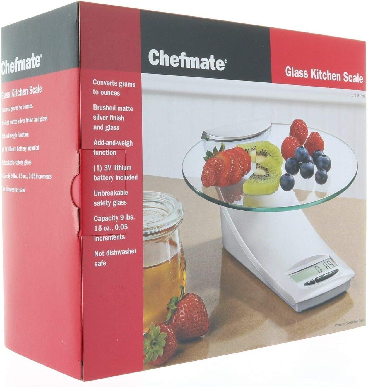 Chefmate Glass Kitchen Food Digital Scale 9lb/4kg, Fast & Precise Converts Grams to ounces