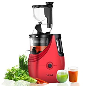 "Juicer Caynel Slow Masticating Juicer Extractor, 3"" Wide Chute Cold Press Juicer Machine, Quiet Motor & Reverse Function, BPA-Free, Easy Cleaning Vertical Juicing Machine (Red)"