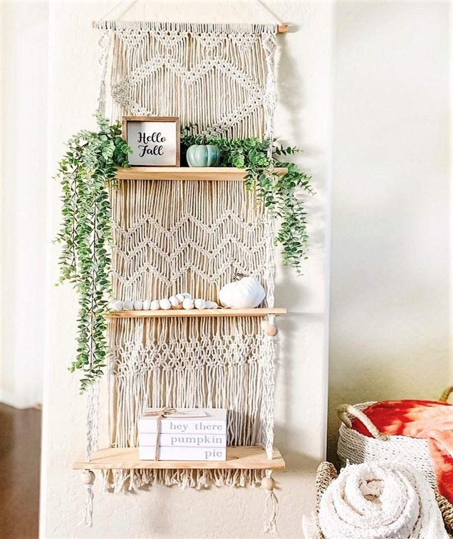 SnugLife Macrame Wall Hanging Shelf - 3 Tier Wall Shelves with Handmade Woven Rope - Boho Shelves Organizer Hanger for Kitchen, Bathroom, Home Storage, Floating Indoor Plant Wall Shelf (Pine Wood)