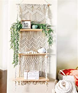 SnugLife Macrame Wall Hanging Shelf - 3 Tier Wall Shelves with Handmade Woven Rope - Boho Shelves Organizer Hanger for Kitchen, Bathroom, Home Storage, Floating Indoor Plant Wall Shelf (Pine Wood)