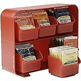 Mind Reader 'Clutch' 6 抽屉茶包架,黑色 红色 STBORG-RED