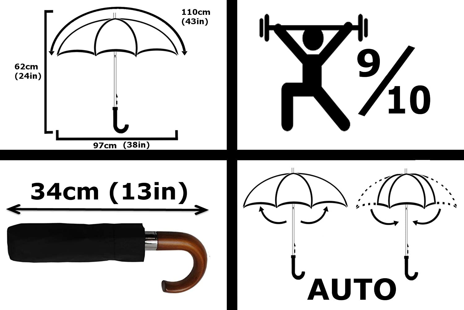 Wooden Hook Handle Solid Wood 80KPH Strong 9 Rib Reinforced Frame with Fiberglass Windproof Umbrella Compact Black Vented Double Layer Canopy Auto Open /& Close COLLAR AND CUFFS LONDON