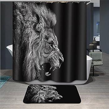 LB Roaring Lion Bathroom Curtain Shower StallBlack Animal Decor Polyester Fabric Mildew Resistant