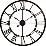 House of Durante London Large Wall Clock Metal Skeletal Roman Numerals Clock