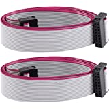 Uxcell IDC Connector Flat Ribbon Cable, F/F, 16 Pins, 2.54 mm Pitch, 1 m, 2 Pieces