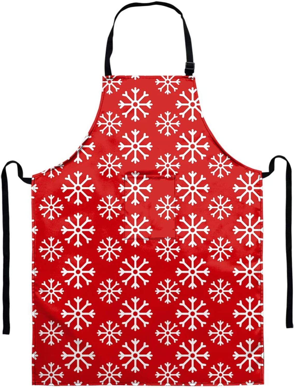 GIFTPUZZ Snowflakes Print Apron Women's Kitchen Apron Adjustable Cooking Baking Garden Chef Apron with Deep Pocket Great Gift for Wife Husband Bakers Waterproof Machine Washable Aprons Christmas Red