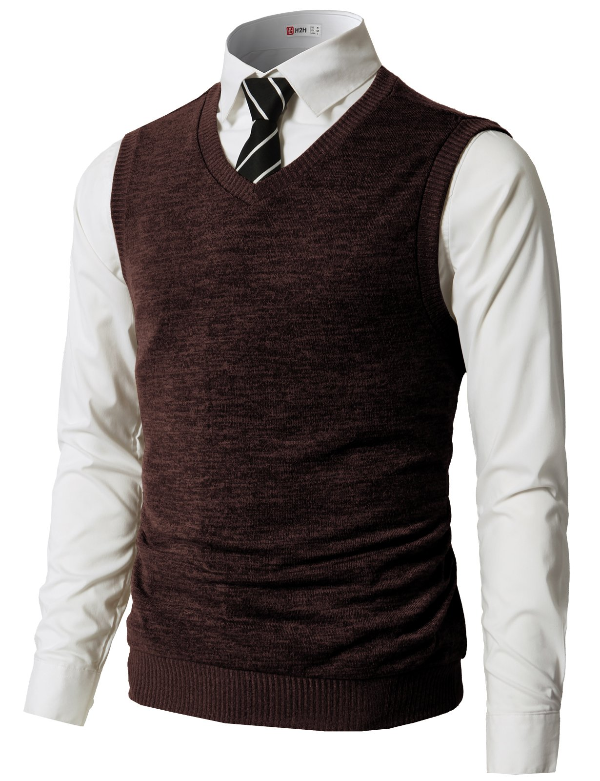 H2H Men's Perfect Slim Fit V-Neck Sweater Darkbrown US L/Asia XL (CMOV042)