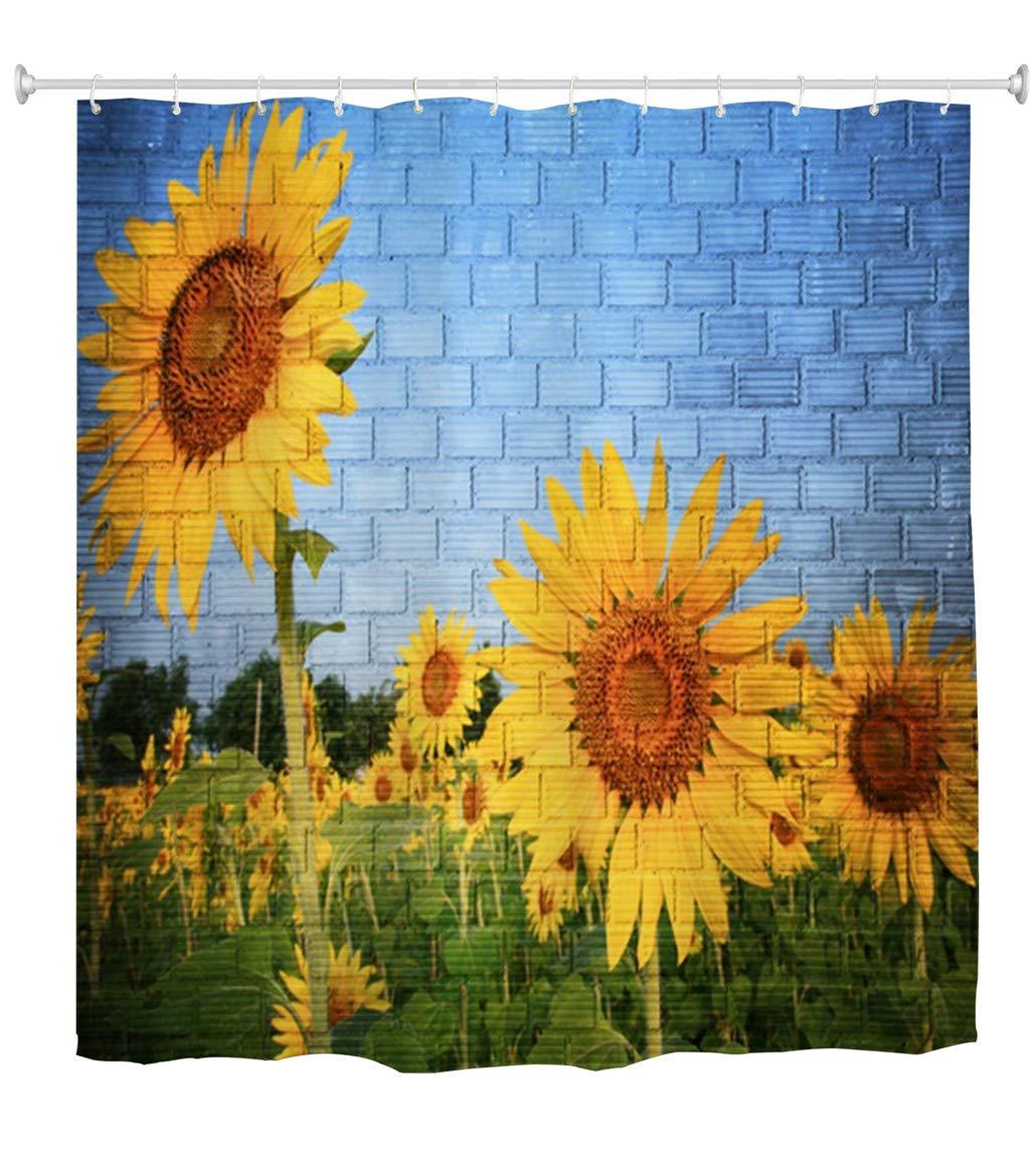 Goodbath Sunflower Shower Curtain, Blue Brick Wall Flower Floral Print Waterproof Mildew Resistant Polyester Bathroom Bath Curtains, 72 x 72 Inch, Blue Yellow