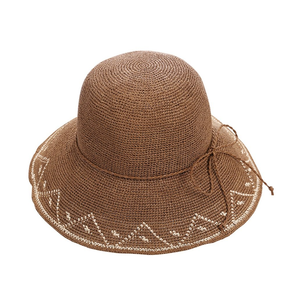 Dark brown Women's WideBrimmed hat Sun Visor Manual Crochet Cap Breathable Sweat Travel Leisure Cap (5 colors Optional) (color   Dark Brown)