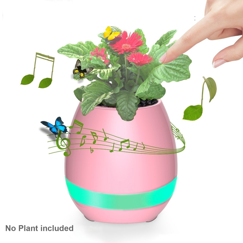 お歳暮 スマート音楽Flowerpotタッチピアノ音楽再生Plant Pots Pots ピンク B073SQTYLZ LEDライト充電式ワイヤレスBluetoothスピーカー付き植物なし B073SQTYLZ ピンク, アウトレットショップ大蔵屋:93585daa --- arcego.dominiotemporario.com