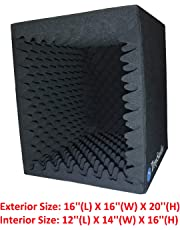 TroyStudio Portable Sound Recording Vocal Booth Box - |Reflection Filter & Microphone Isolation Shied| - |Large, Foldable, Stand Mountable, Super Dense Sound Absorbing Foam (Large)